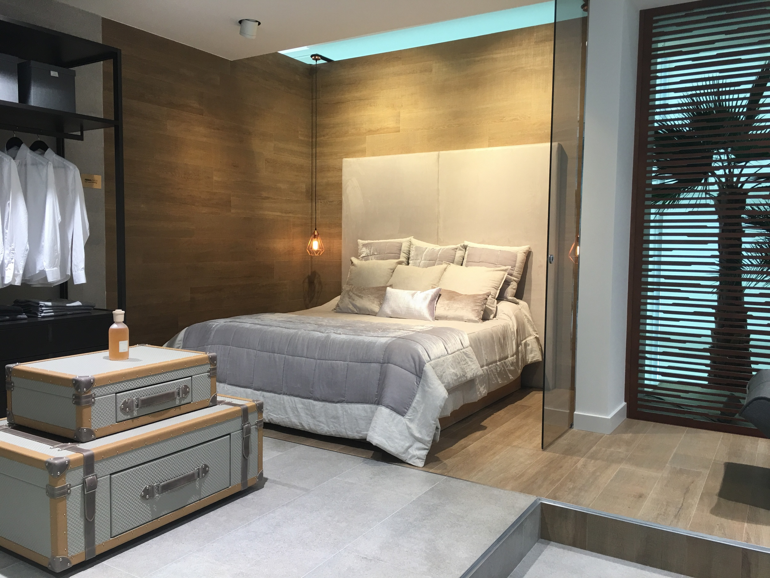 Bedroom lifestyle setting - with wood effect wall tiles