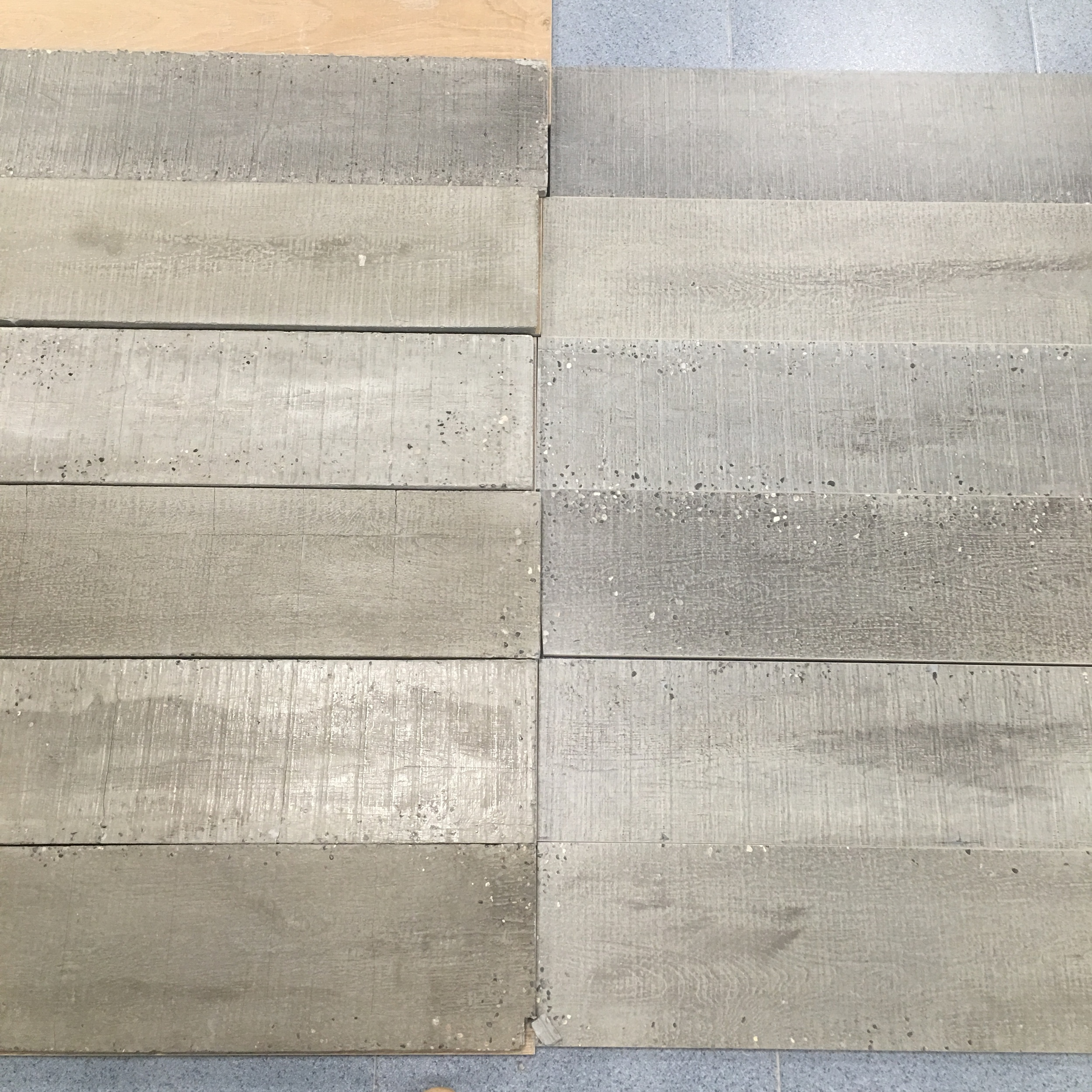 Comparing the timber boards and the wood effect tiles