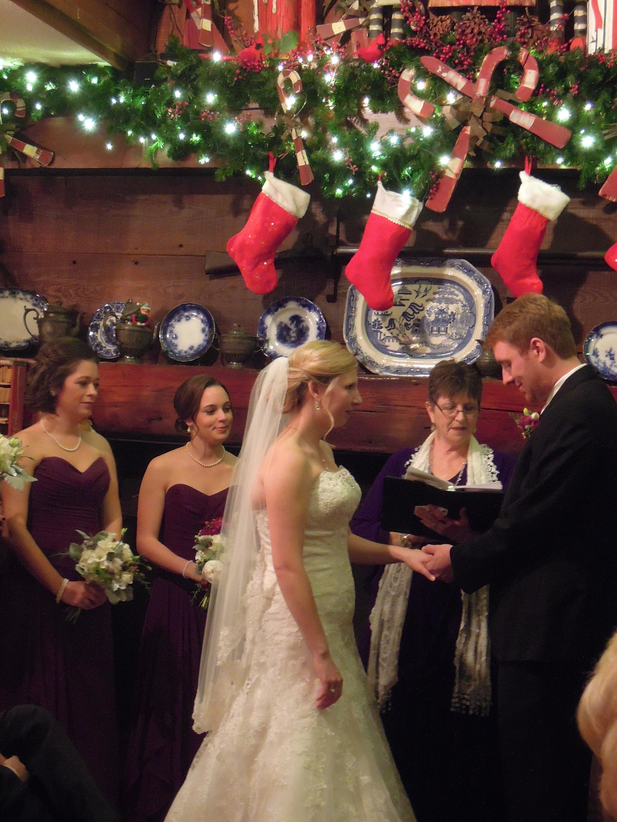 Christmas Wedding inside Angus Barn Restaurant, Raleigh NC