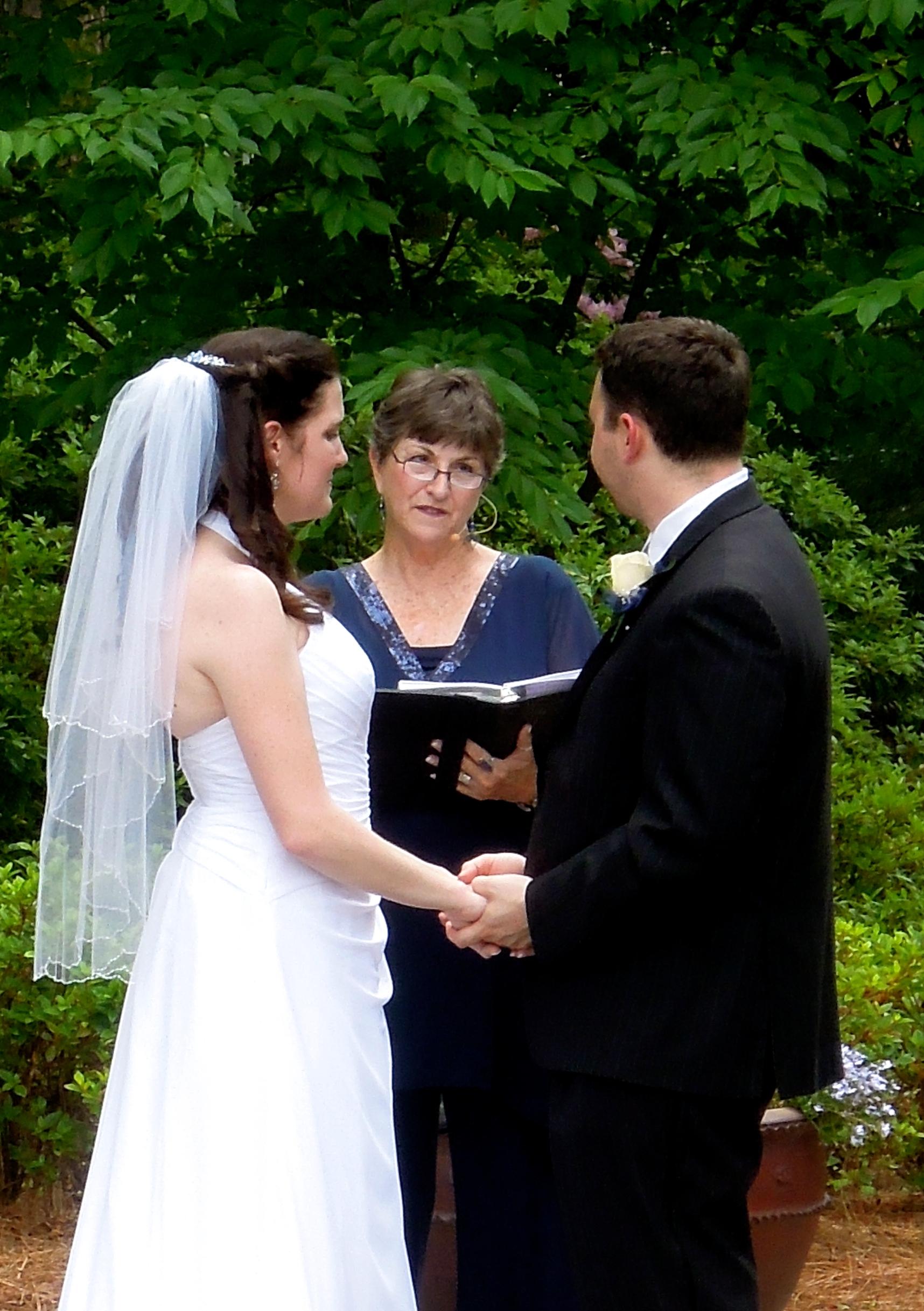 Wedding Ceremony at the WRAL Azalea Garden, Raleigh NC