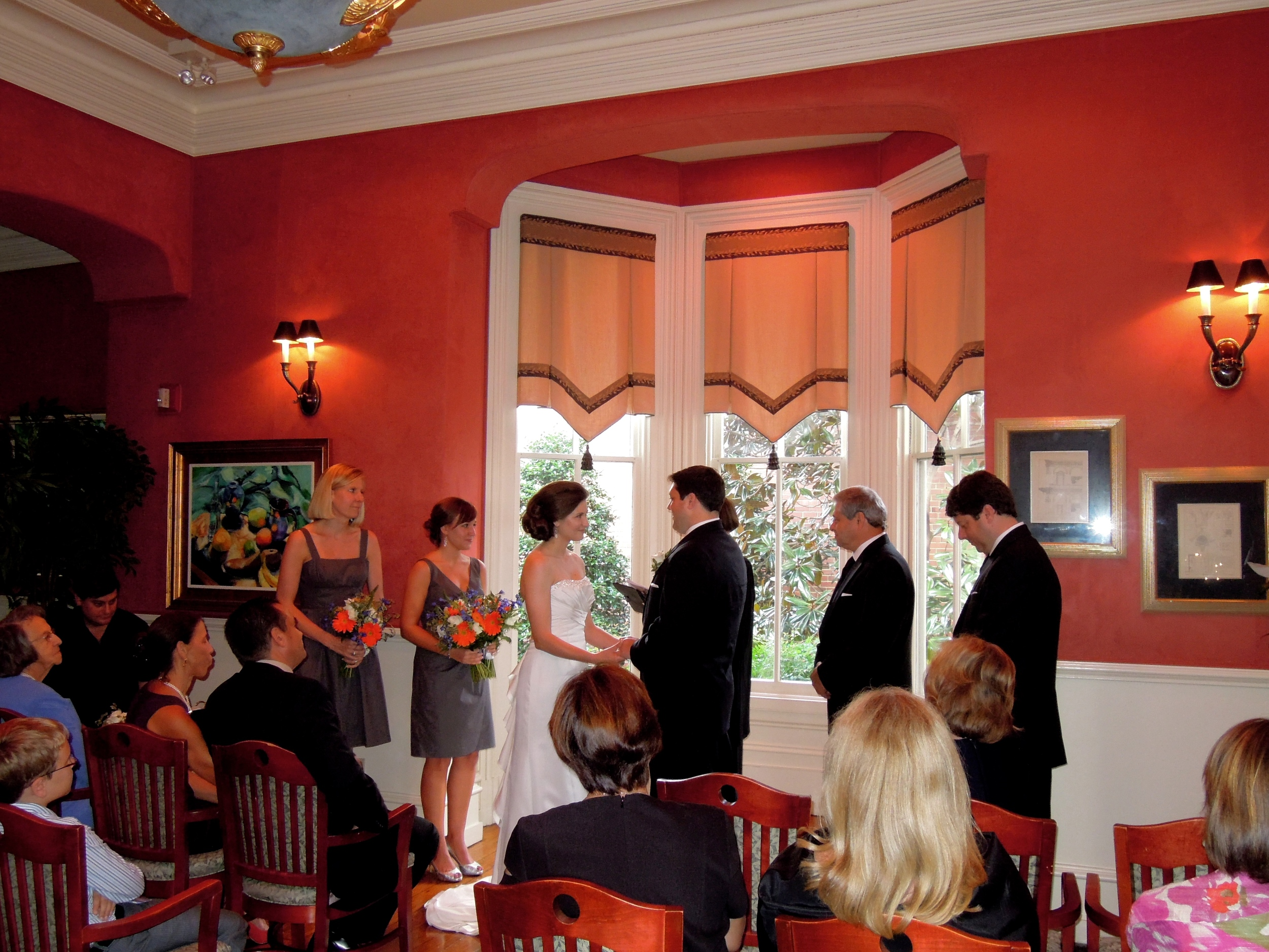 Small intimate wedding at the historic Second Empire restaurant in downtown Raleigh