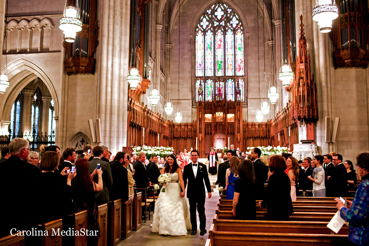 Spectacular wedding at Duke Chapel in Durham. Photo by Carolina Mediastar