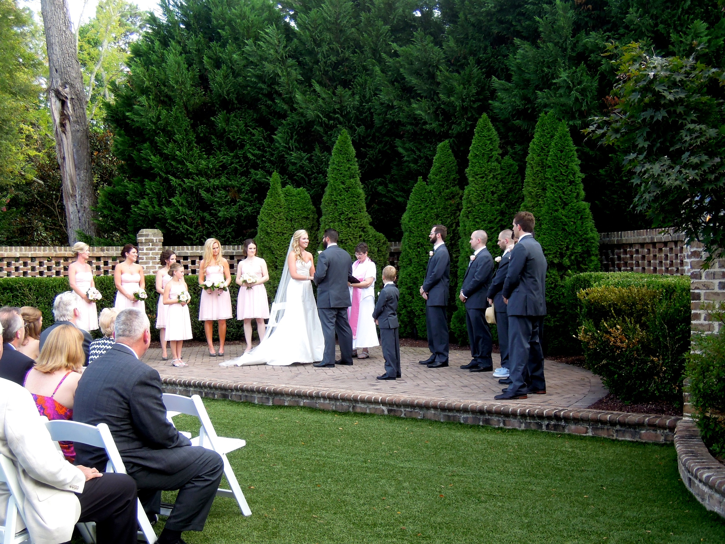 A great wedding at the Walled Garden at The Sutherland Historic Estate in Wake Forest NC