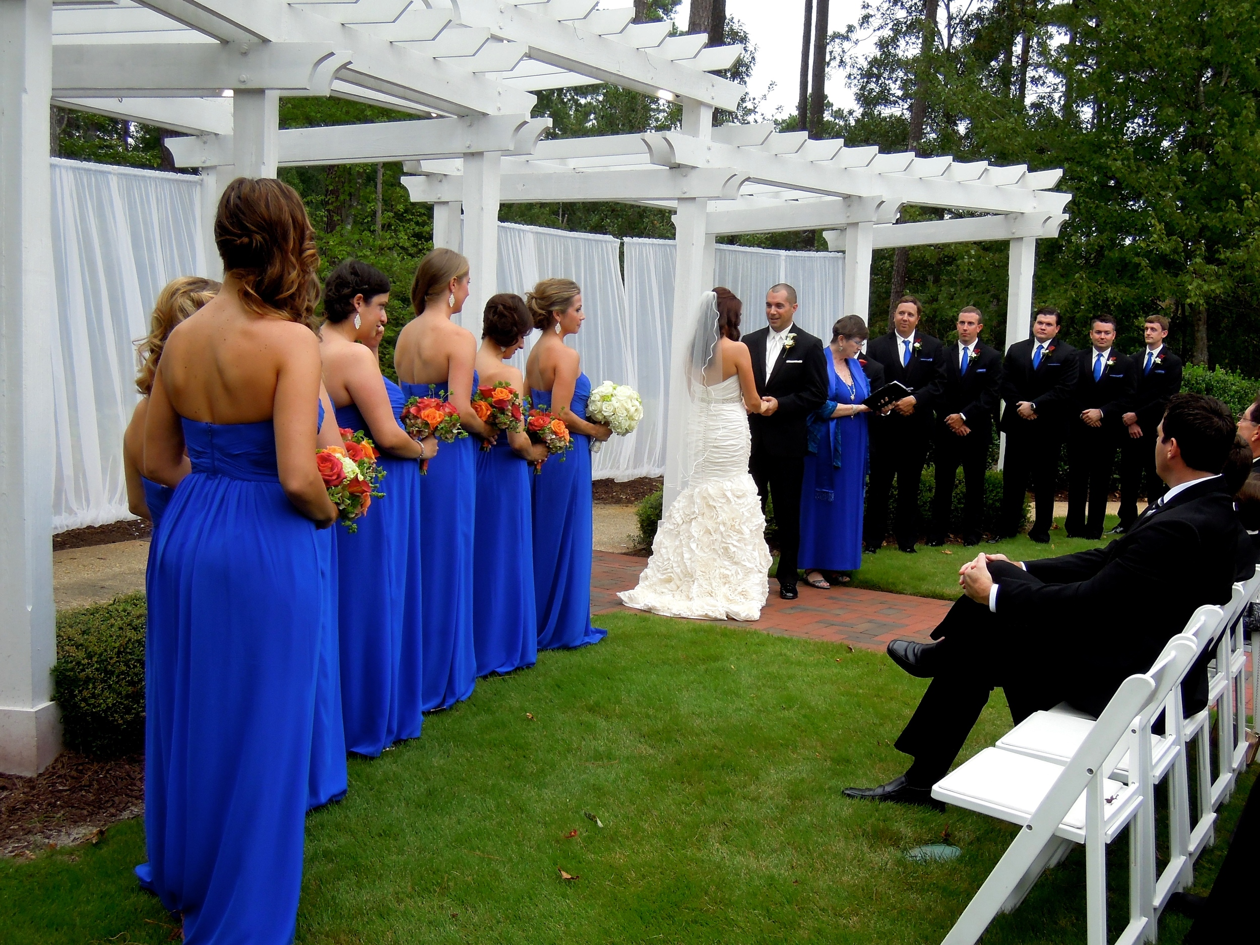 Wedding in the Jasmine Courtyard at Brier Creek Country Club, Raleigh