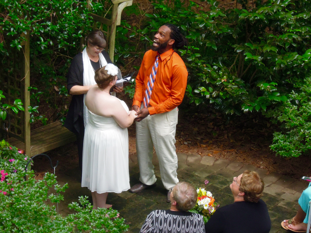 The groom surprised us all by bursting into song as he made his unforgettable vows to the bride! So romantic!