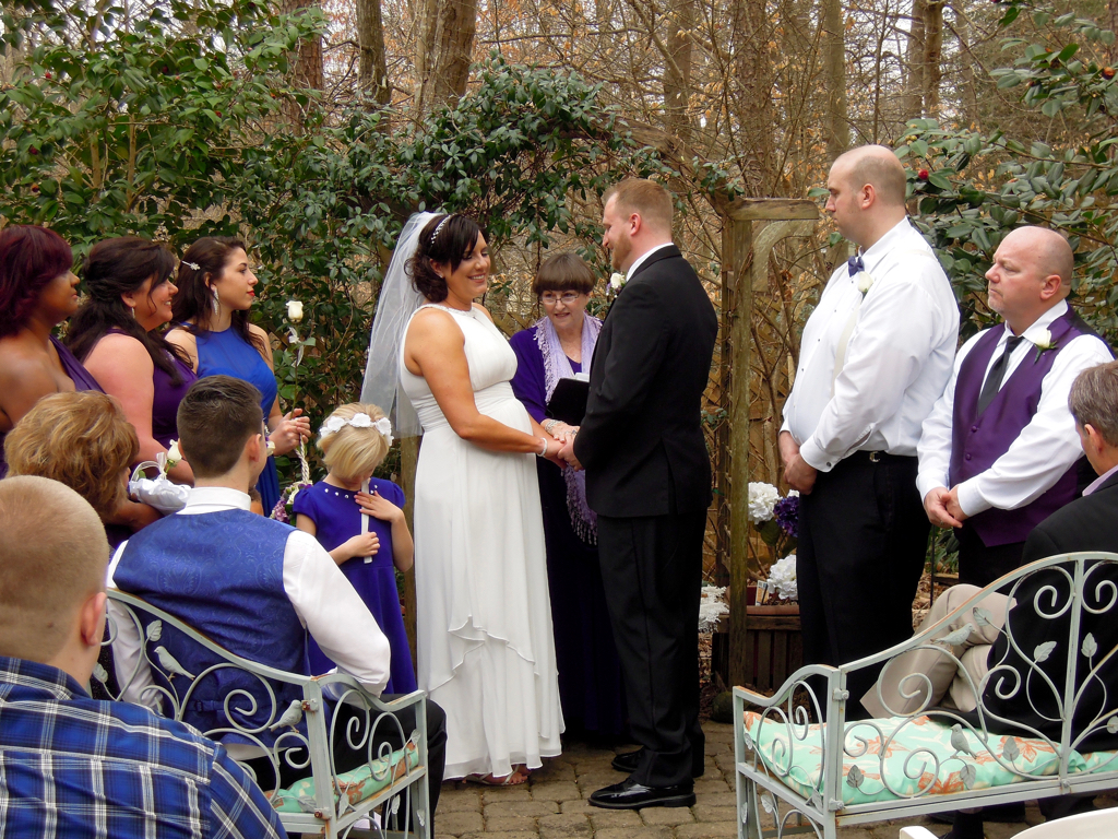 A wonderful family wedding for Stephanie and Josh with a sand ceremony blending their families together. Kayelily's wedding garden.