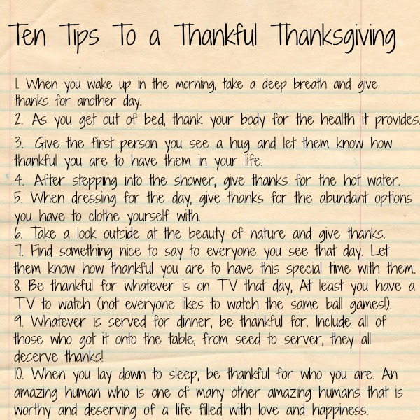 Ten Tips To a Thankful Thanksgiving