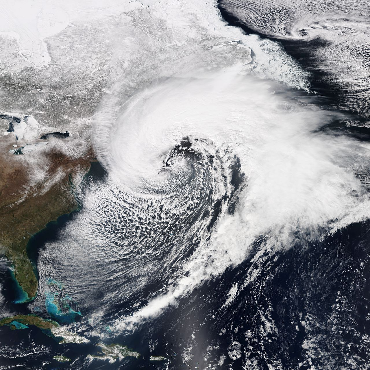 A nor'easter is a macro-scale storm along the upper East Coast of the United States and Atlantic Canada; the name is derived from the direction the wind is coming in from the storm. The wind on land, therefore, will generally blow from the northeast.
