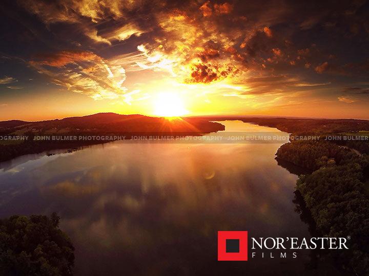 Aerial sunset above the Tomhannock Reservoir in Valley Falls, New York  © 2016 John Bulmer Photography
