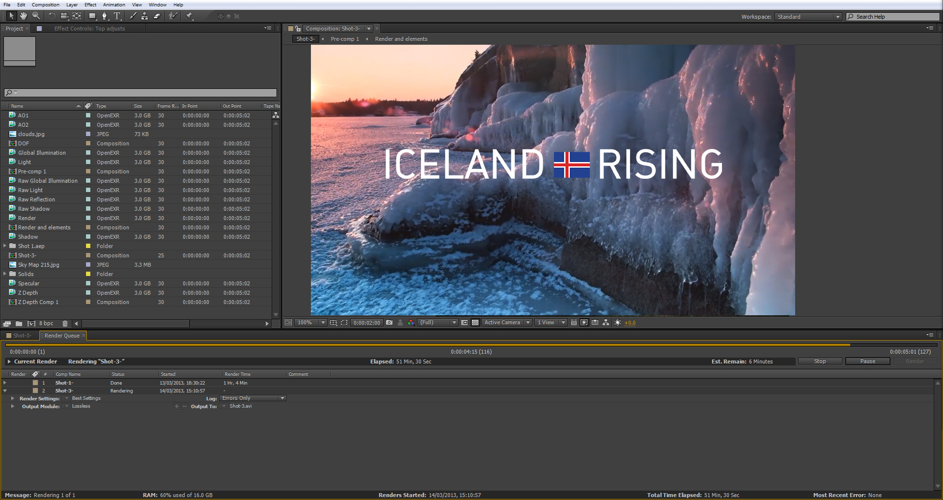 Editing session for Iceland Rising