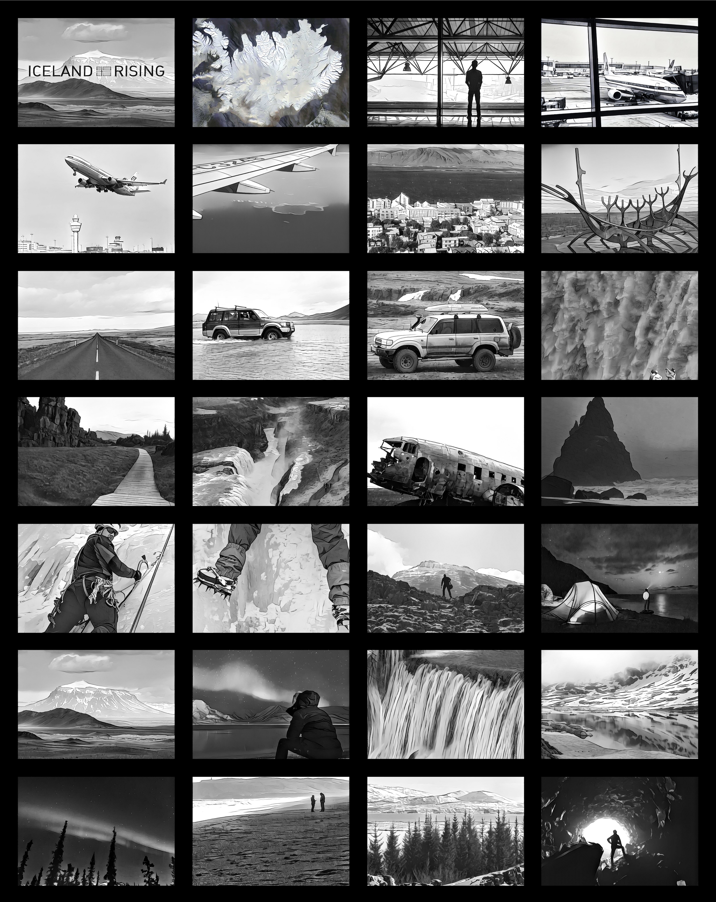 Full overview storyboard of location shots for Iceland Rising