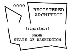 This is what an architect's stamp looks like in Washington. After 6 years of architecture school, 3+ years of interning, passing 9 state board exams, reciting all professional codes, and visiting your local stamp store, you can buy one! (or you could probably forego all of that and just buy one)