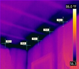 Thermal image of a stud wall.