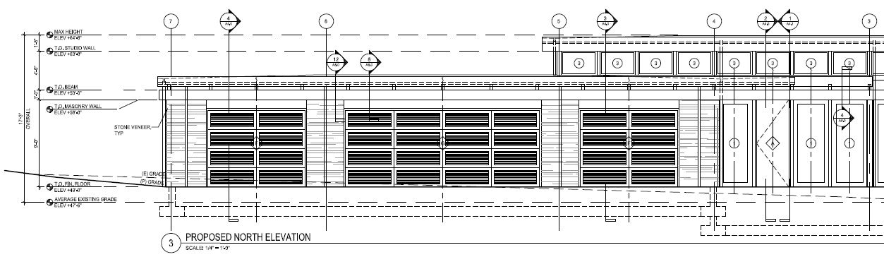 Example of a construction drawing  (explains heights, materials, and cross-references for other construction details shown on other drawing sheets)