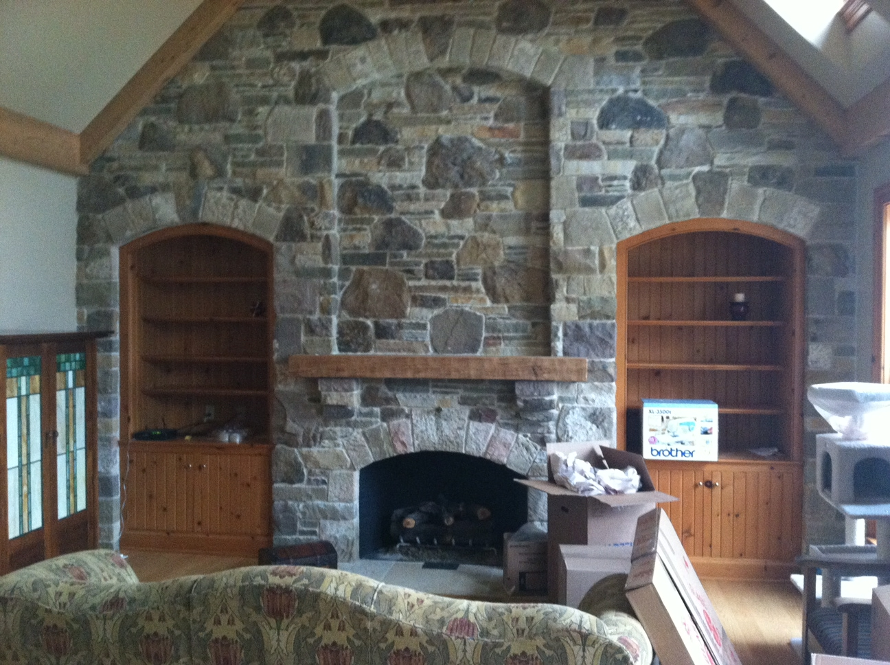 Fieldstone Wall Fireplace