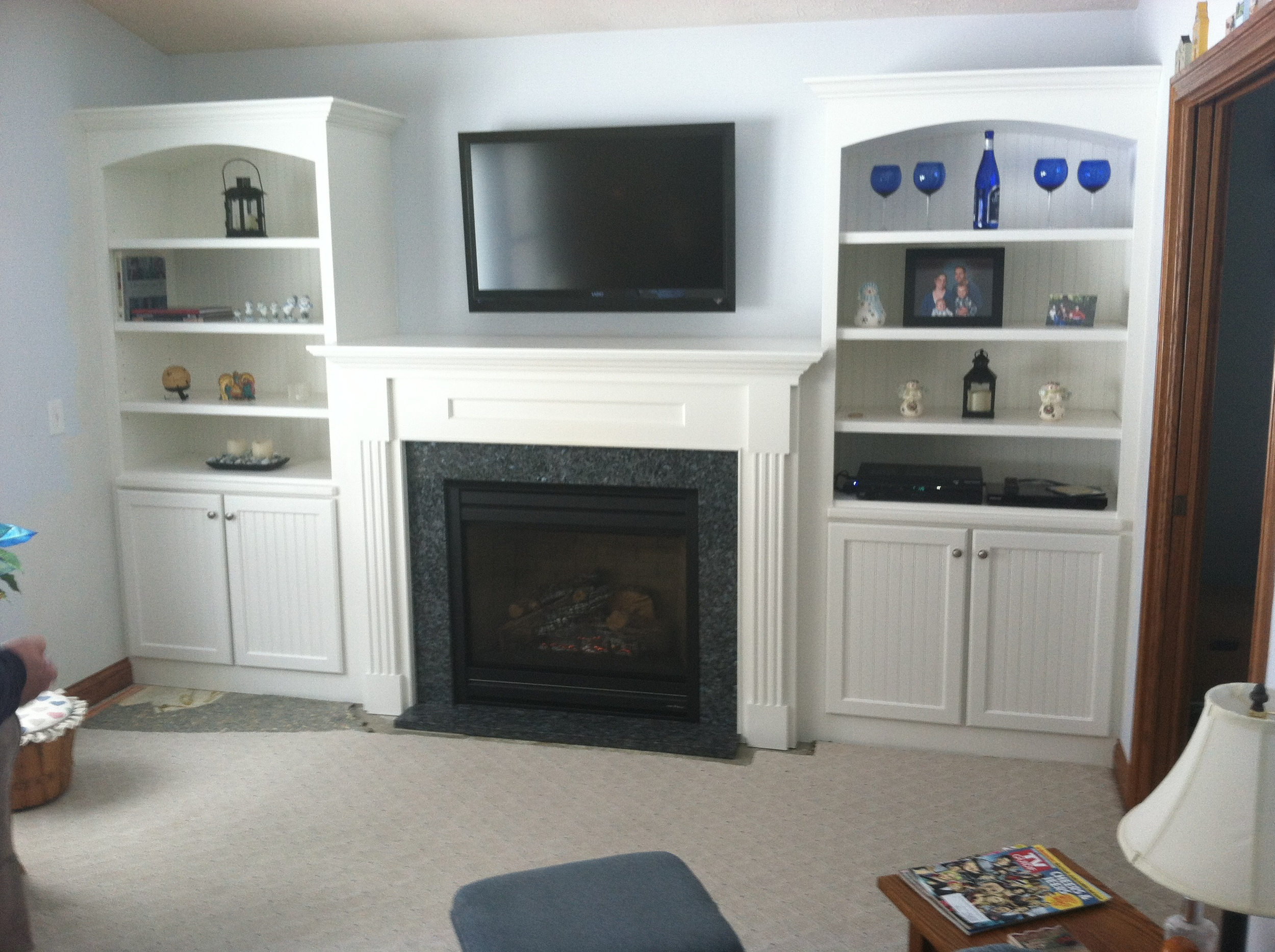 Custom Book Shelves and Direct Vent Fireplace Install