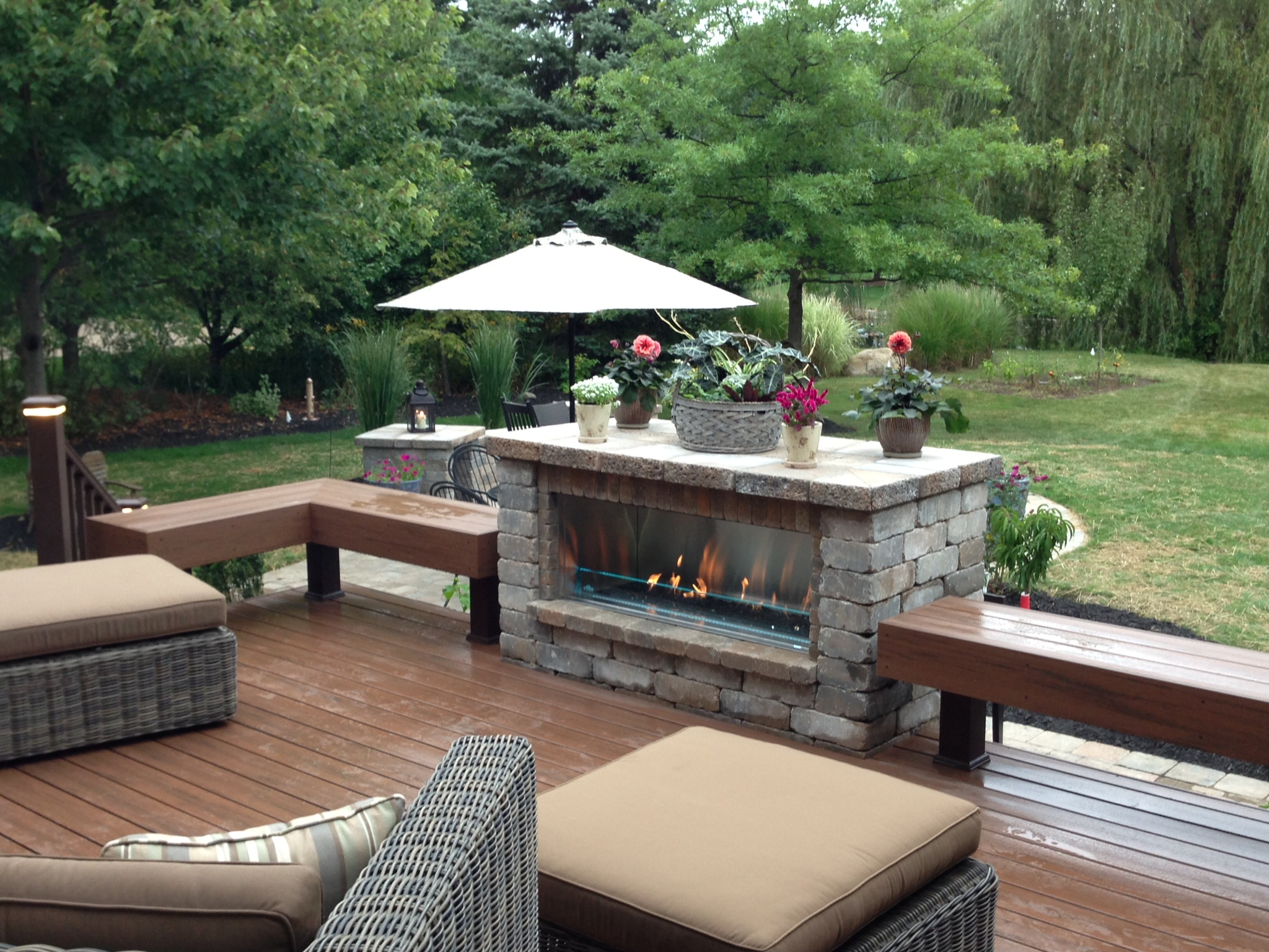 Outdoor Linear Fireplace & Deck