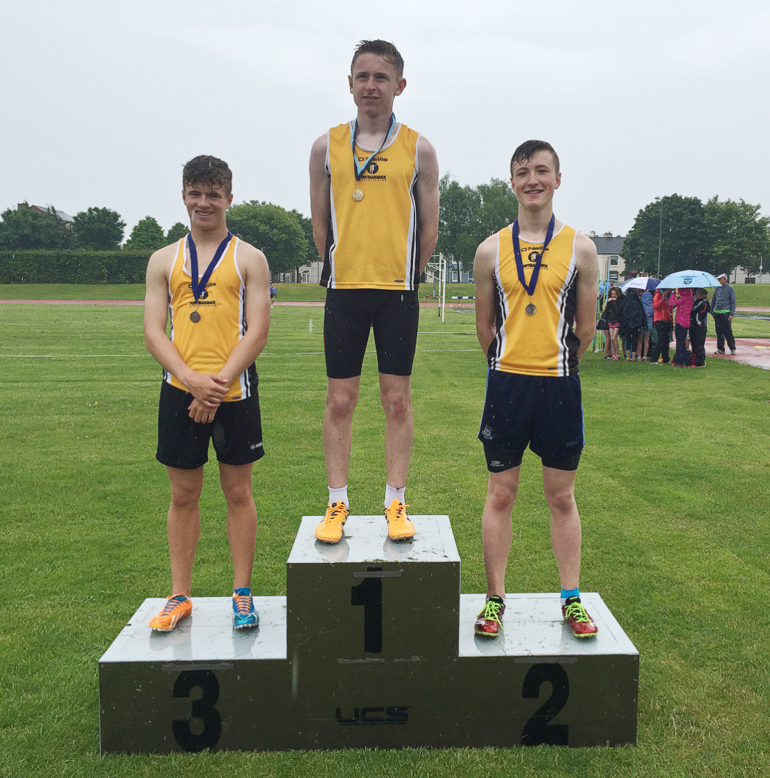 Michael Farrelly, Ronan Patterson and Conor Archer produced a clean sweep in the u15 200m at the recent Dublin Championships. The trio will now compete in Tullamore at the Nationals in July.