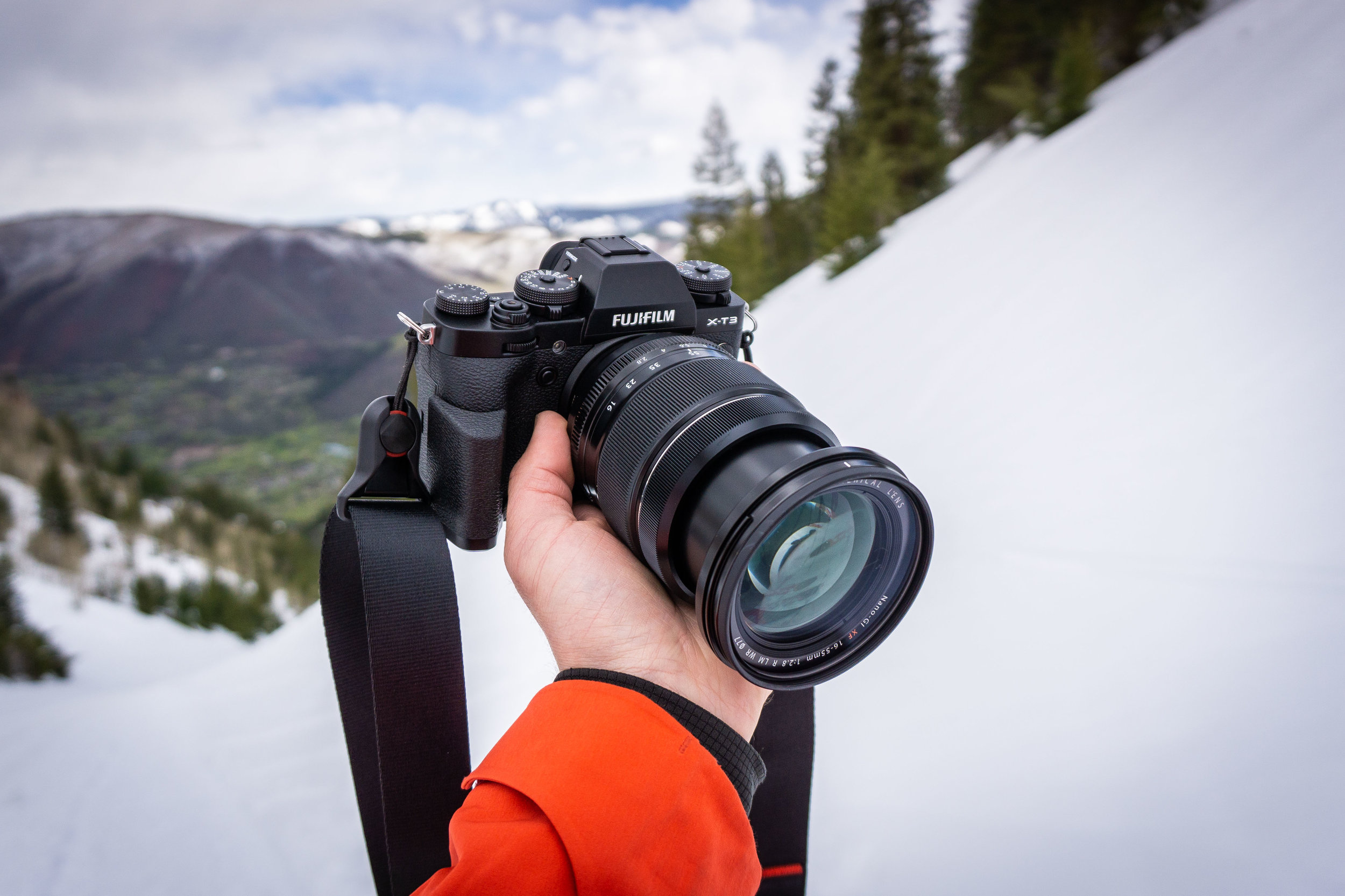 Taking my new Fuji XT3 on a test run shooting photos on Aspen Mountain. Pictured with an added grip (I found this pretty useful for ergonomics) and the  XF 16-55mm f/2.8 R  lens, which actually isn't all that better than the kit lens. Just heavier and more expensive, with constant aperture.