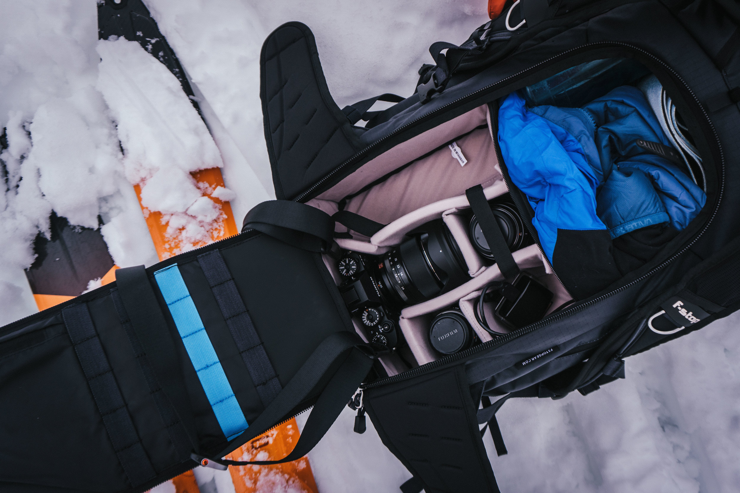 What I owned of the Fuji X-series packed away in my camera bag. It still takes up a lot of space, but was noticeably lighter and 'sleeker' than my Canon system. Felt great on the hike up Aspen mountain. A win for the mirrorless system!