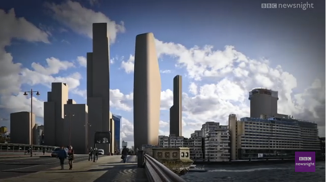 11 February 2016 . Watch  Newsnight  to see how London's skyline would look if all the currently planned tall buildings were built. The Skyline Campaign's Barbara Weiss shares her views in a programme that uses striking visuals to show the shocking transformation planned for some of London's most prized views.