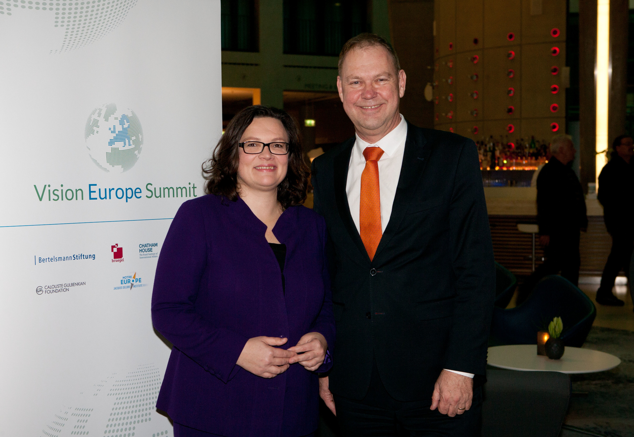 Andrea Nahles, Federal Minister of Labour and Social Affairs; Aart De Geus, Chairman and CEO, Bertelsmann Stiftung