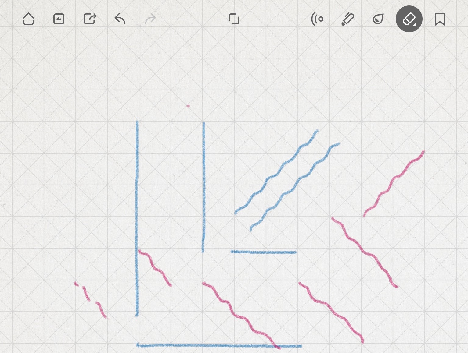 """image shows straight vertical and horizontal lines, but diagonals (drawn straight) show up """"wavy"""""""
