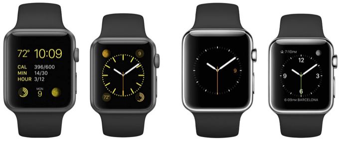 Watch Sport at left (42/38mm), Watch at right (42/38mm)