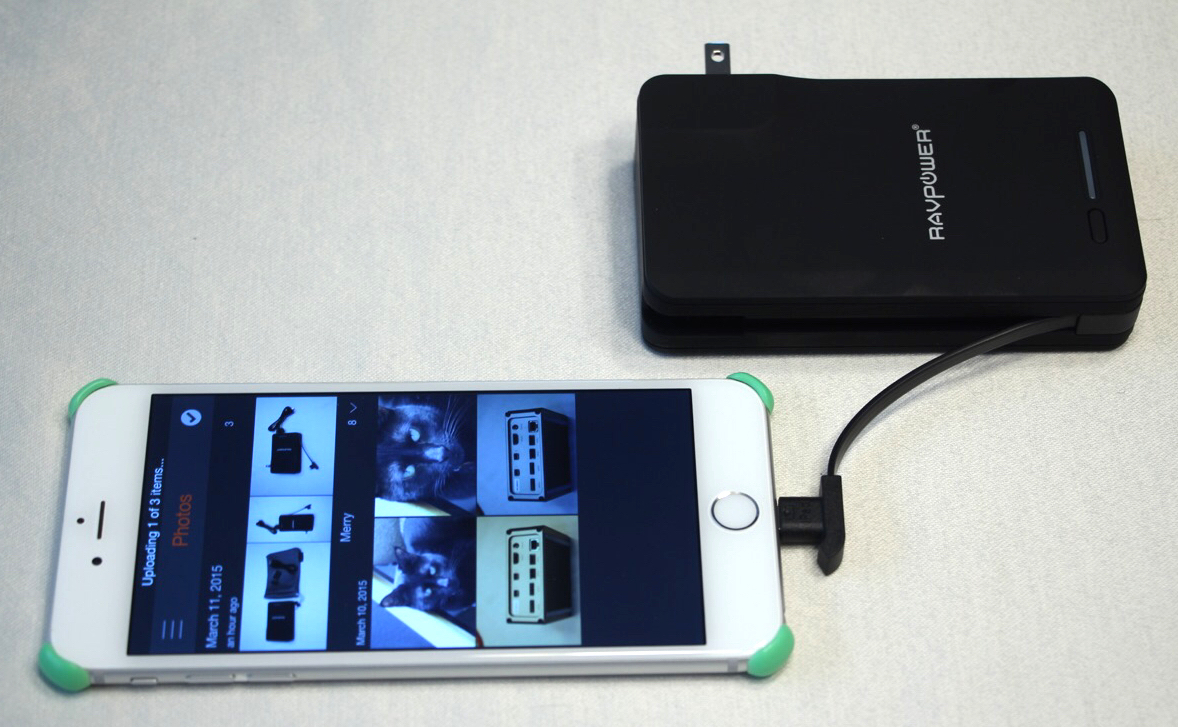 charging iphone 6 plus with ravpower savior. photo by steve sande © 2015, all rights reserved