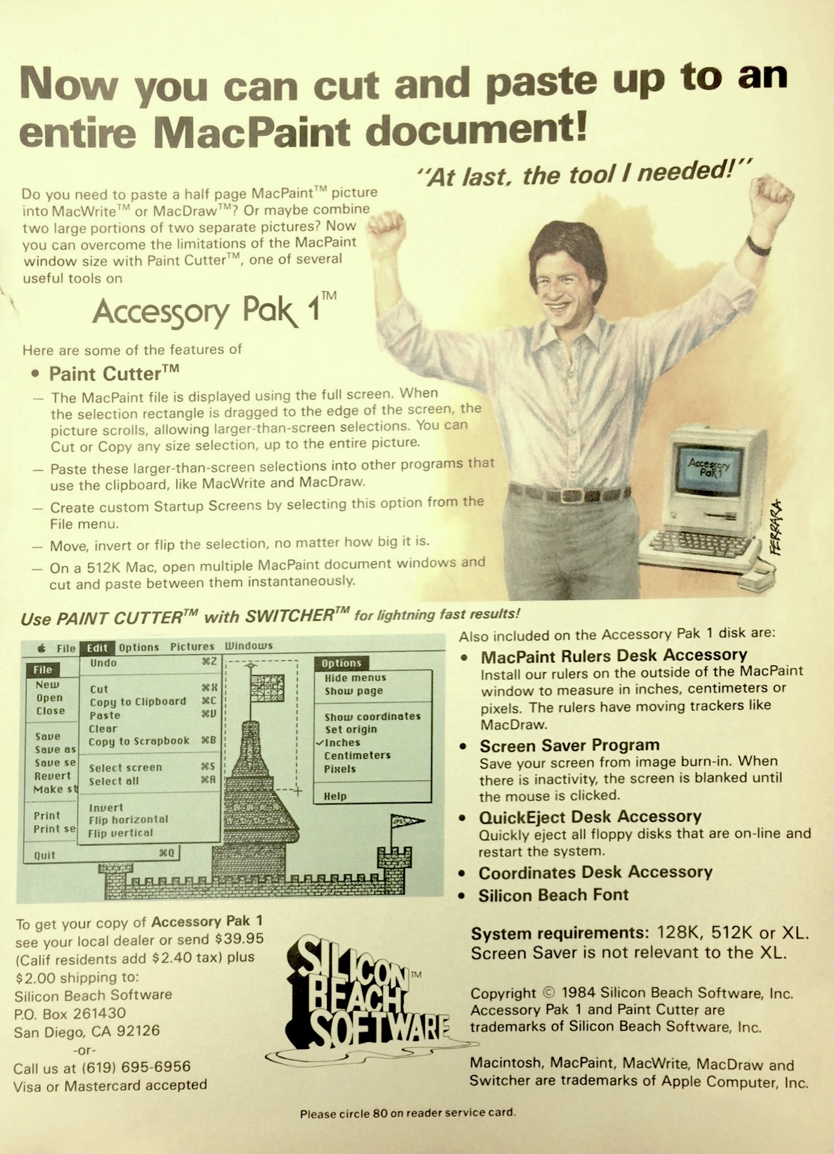 AD ORIGINALLY PUBLISHED IN OCTOBER 1985 ISSUE OF MACUSER MAGAZINE (CLICK TO EXPAND)