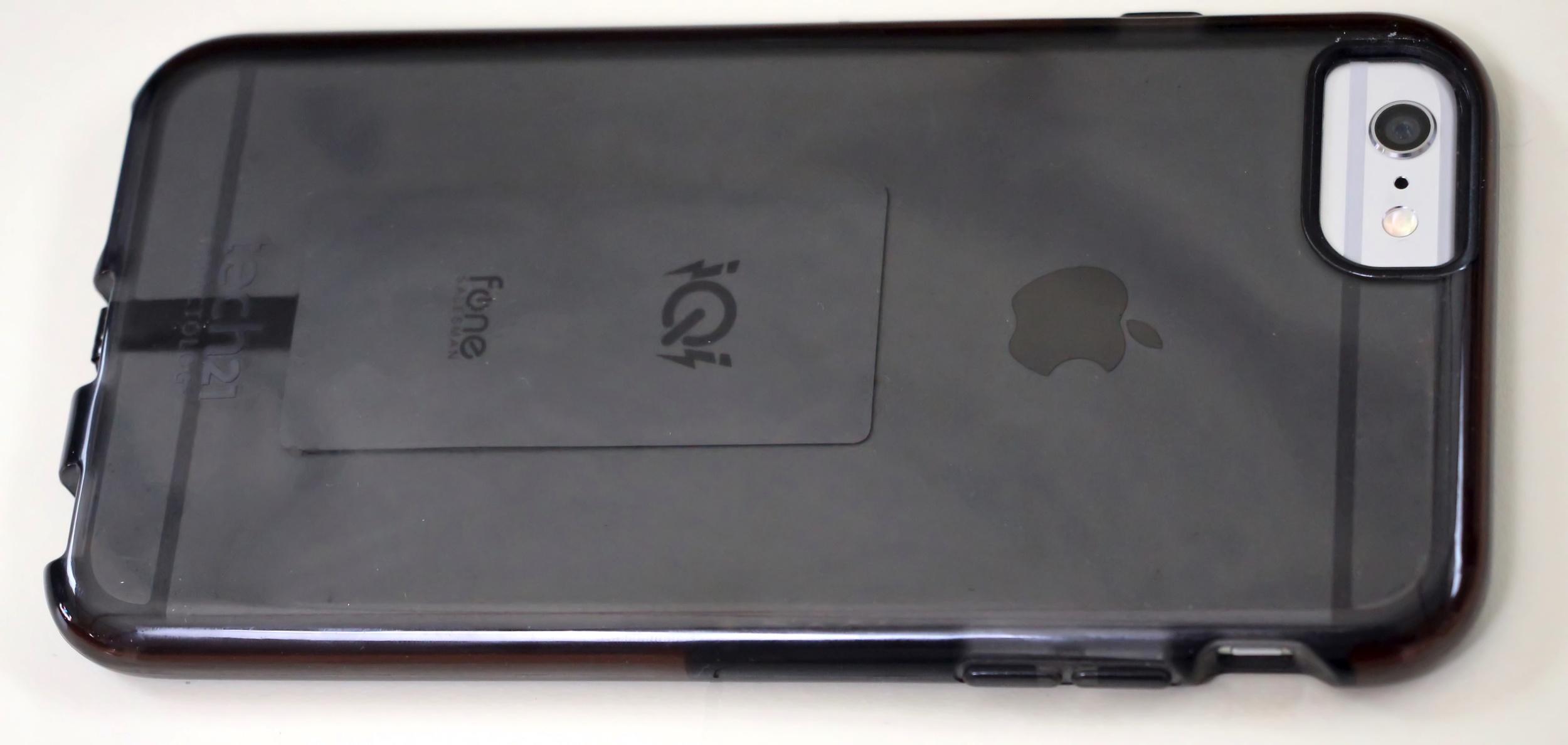 iQi Mobile Qi Receiver inside iPhone 6 Plus case. Photo ©2015 Steven Sande