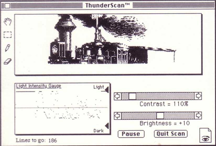 Image of ThunderScan software at work via Folklore.org