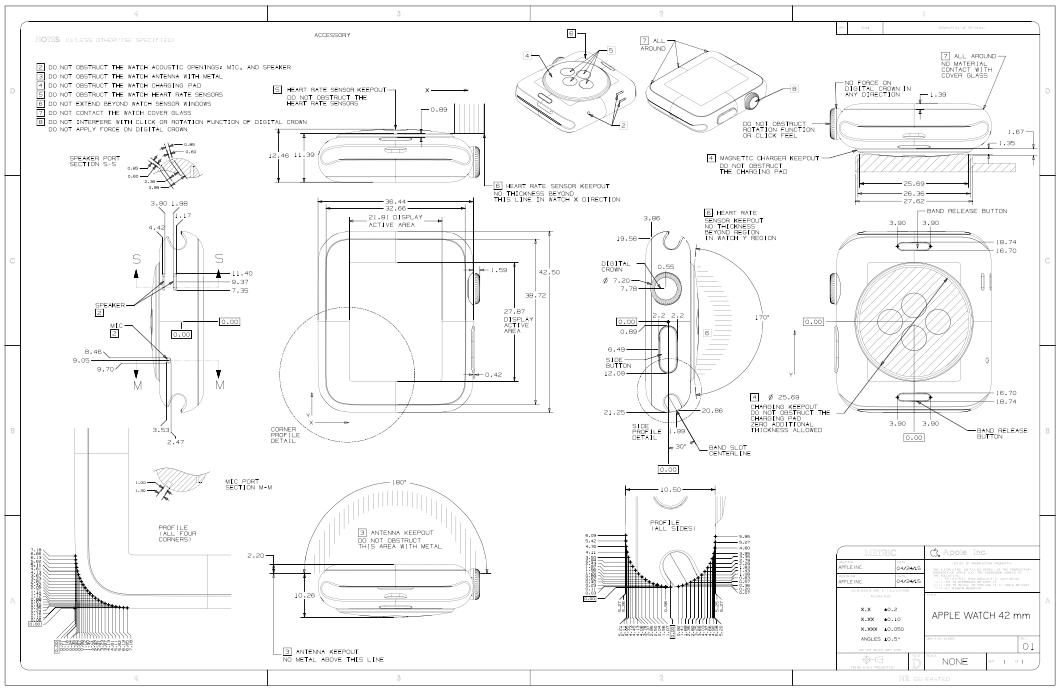 Apple Watch 42 mm Dimensional Drawing. Apple Inc.
