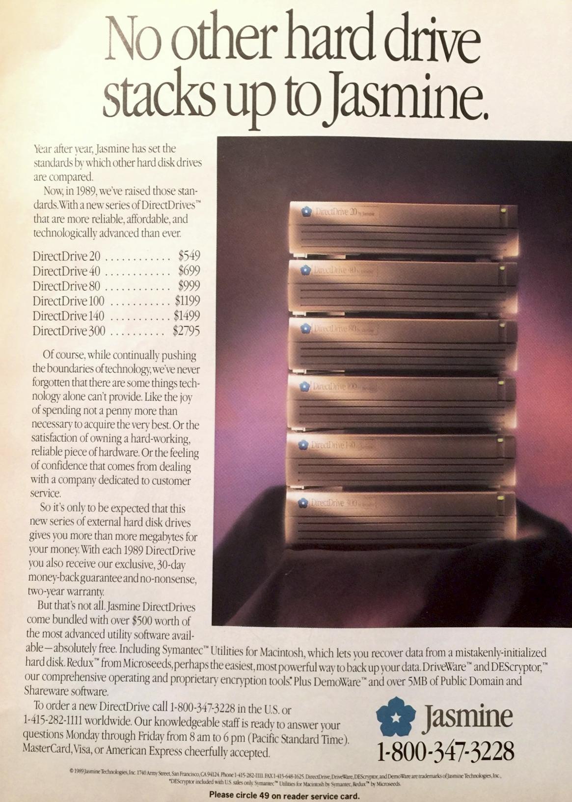JASMINE DIRECTDRIVE AD FROM JUNE 1989 MacUser MAGAZINE