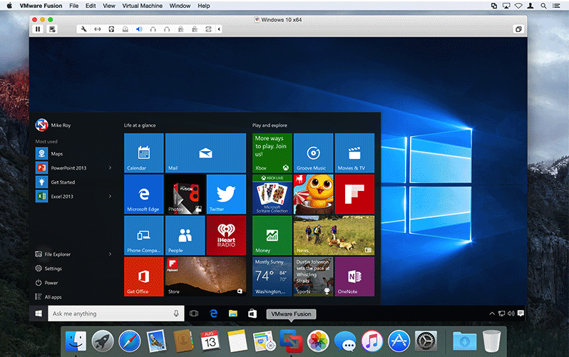 VMware Fusion 8 screenshot courtesy of VMware