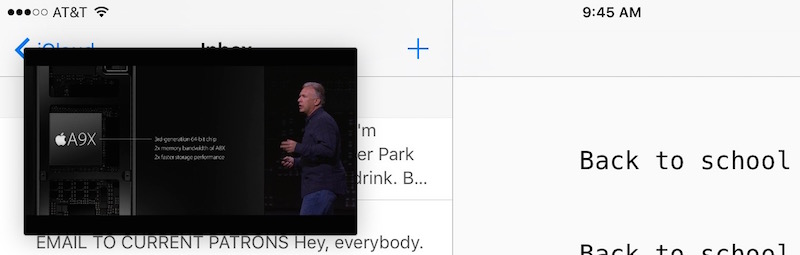 picture in picture - apple keynote overlays the ulysses app