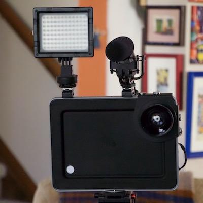 Front view of padcaster showing LED panel, shotgun mic. ©2016 steven sande