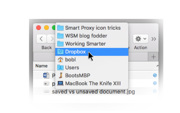 Right-click, Command-click, or Control-click the proxy icon to see the path to this document or folder (Smart Proxy icon tricks).
