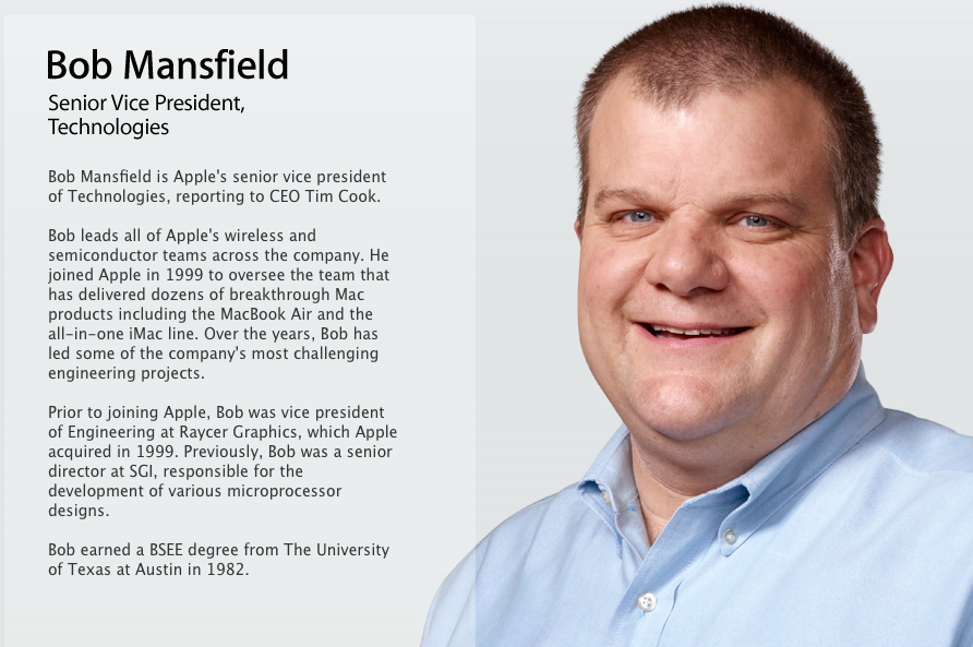 Bob Mansfield bio from his former position at Apple