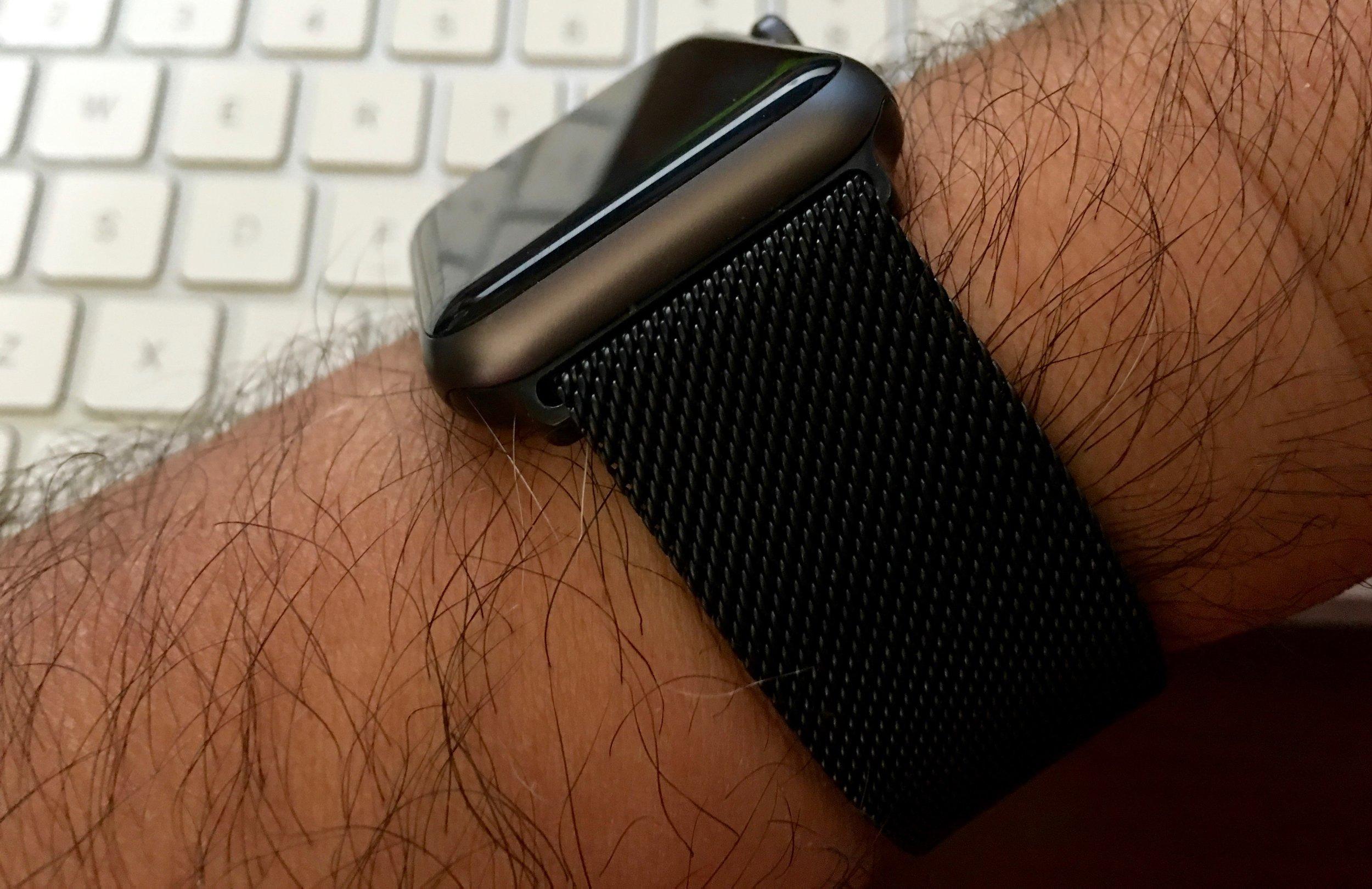 The black X-Doria Mesh Band on Steve's hairy wrist. Photo ©2016, Steven Sande