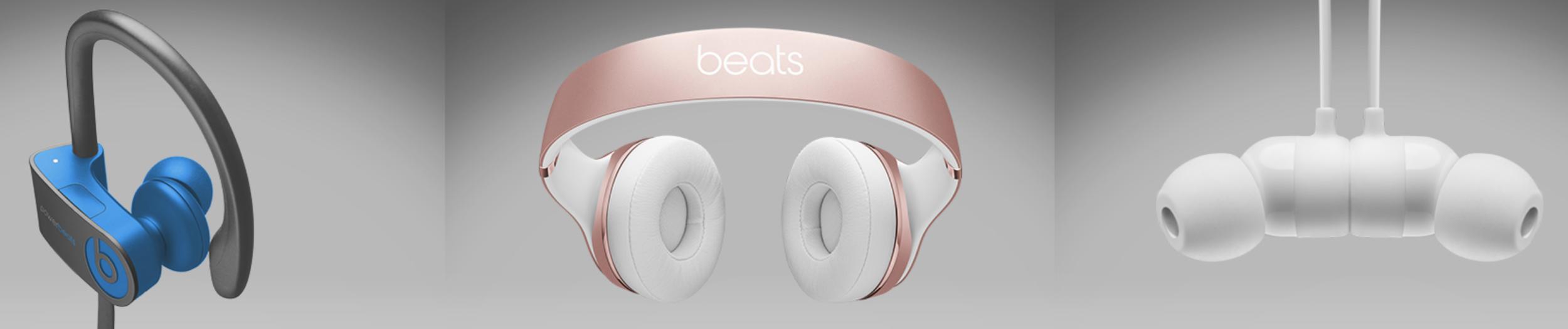 Powerbeats 3 (left), Beats Solo 3 Wireless (center), BeatsX (right)