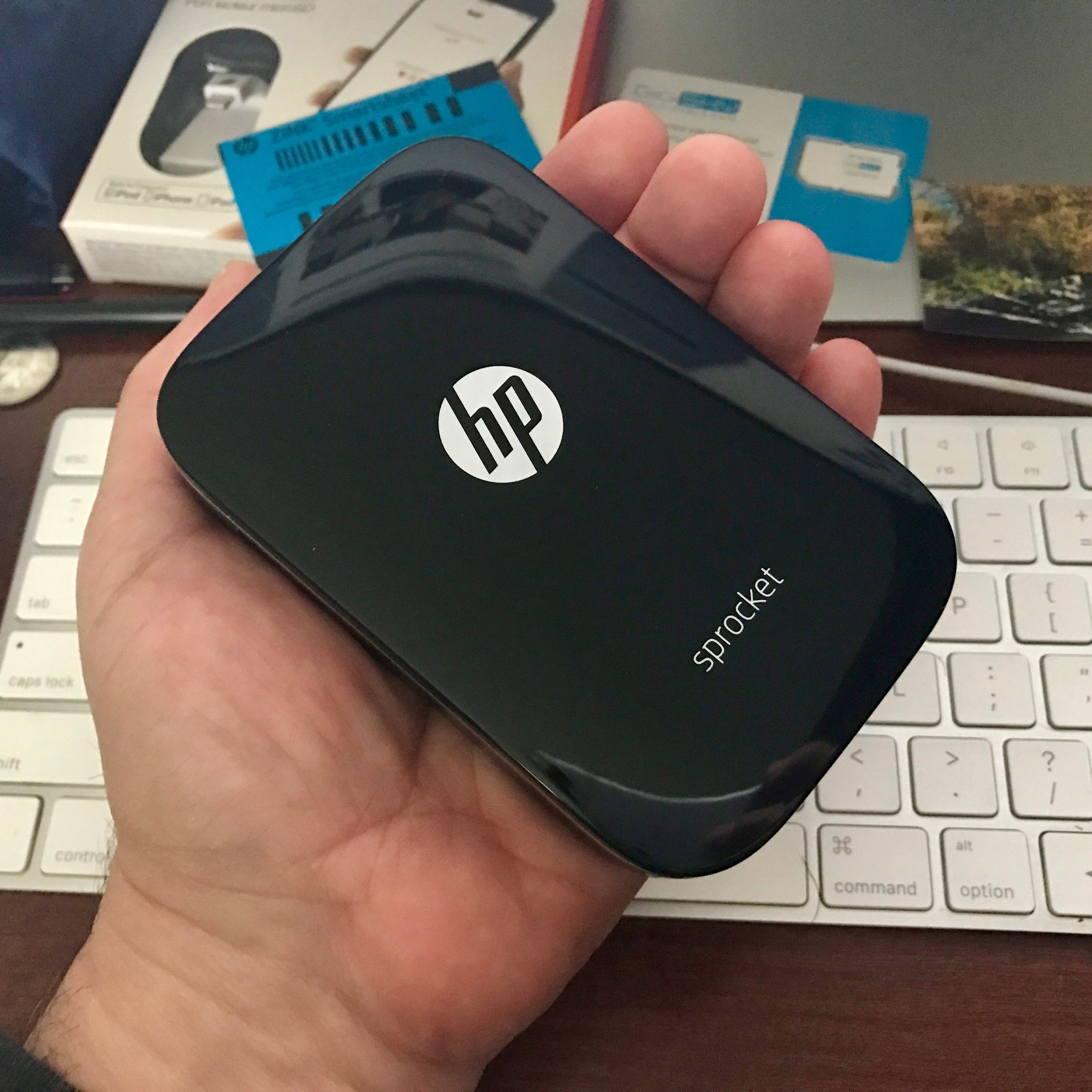 HP Sprocket in my hand (and I have small hands). Photo ©2016, Steven Sande