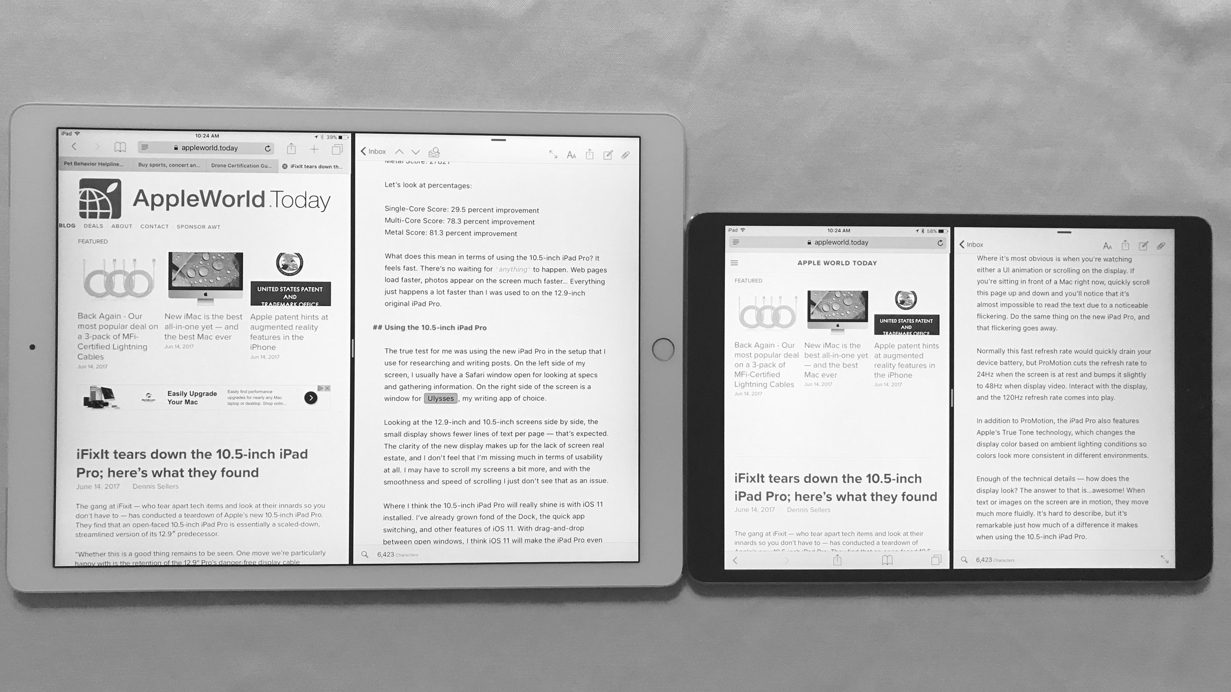 The 10.5-inch 2017 iPad Pro (right) and 12.9-inch 2015 iPad Pro (left)