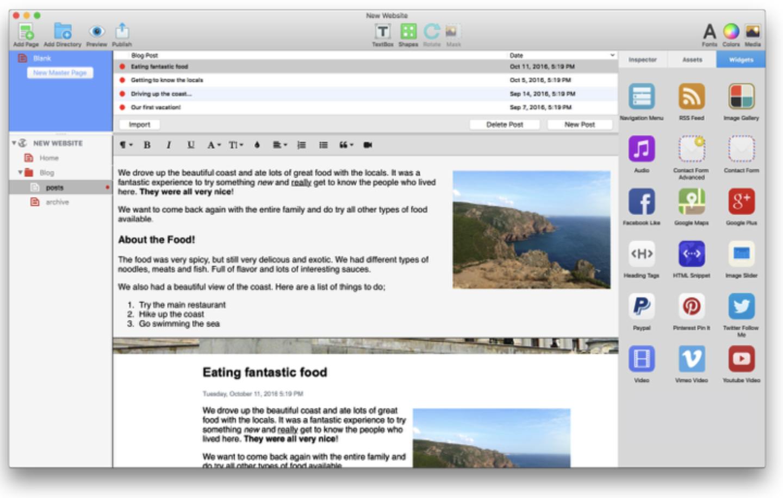 EverWeb's blogging interface