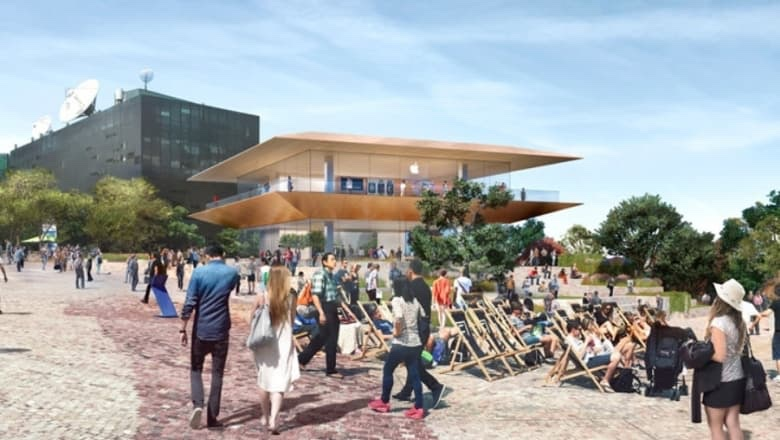 An artist's impression of the new Apple flagship store to be built at Federation Square in Melbourne.