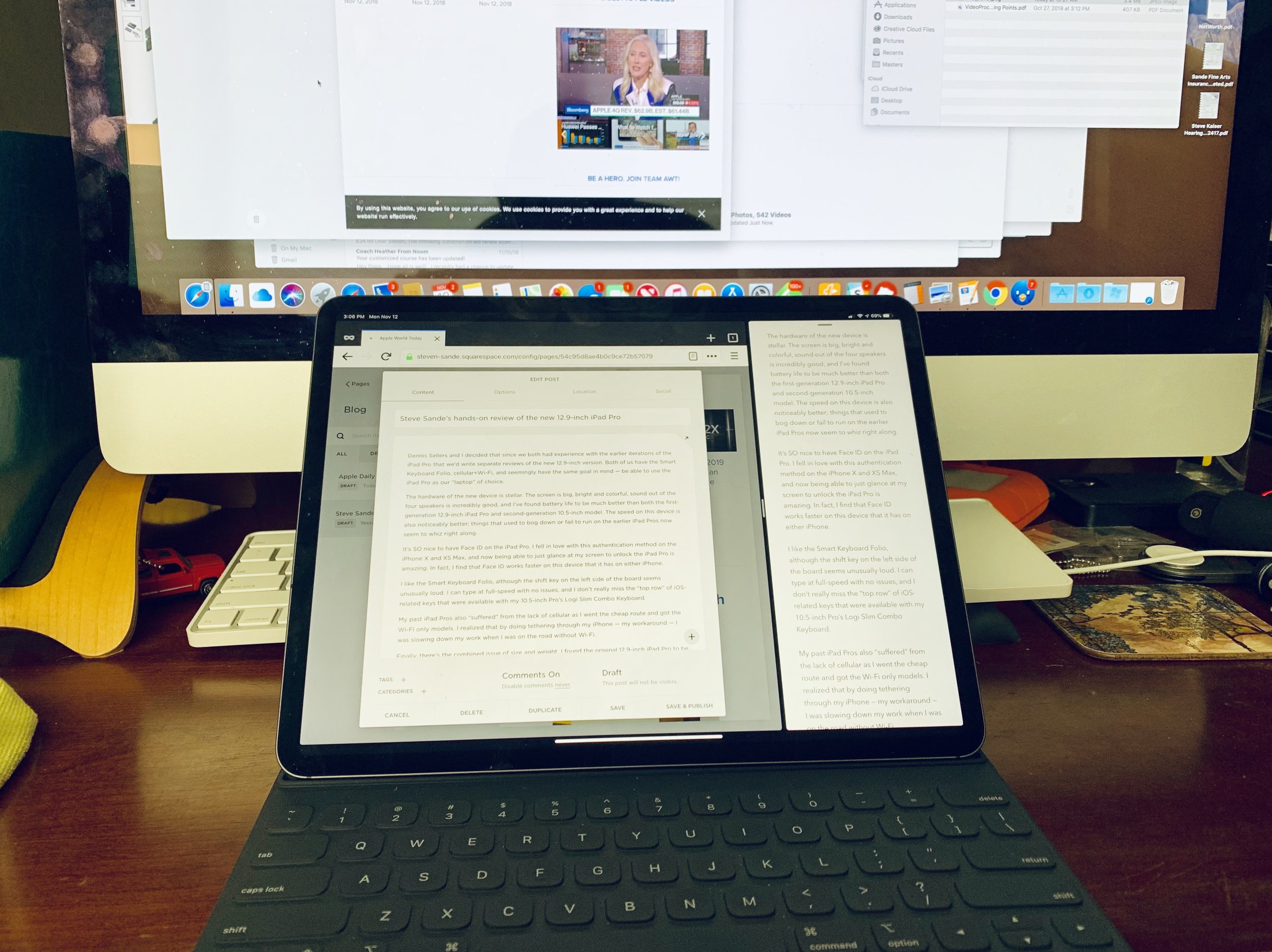 The iPad Pro in split view mode; Firefox on the left, Bear on the right.
