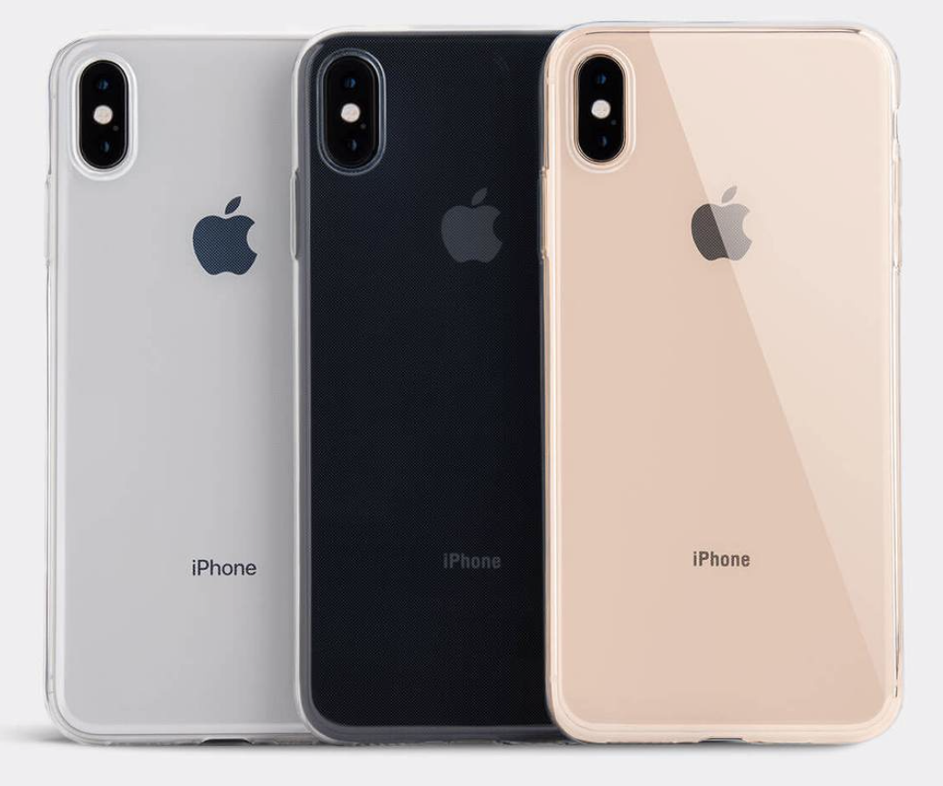 Photo of Totallee Thin Case (glossy soft clear) on a trio of iPhone XS Max