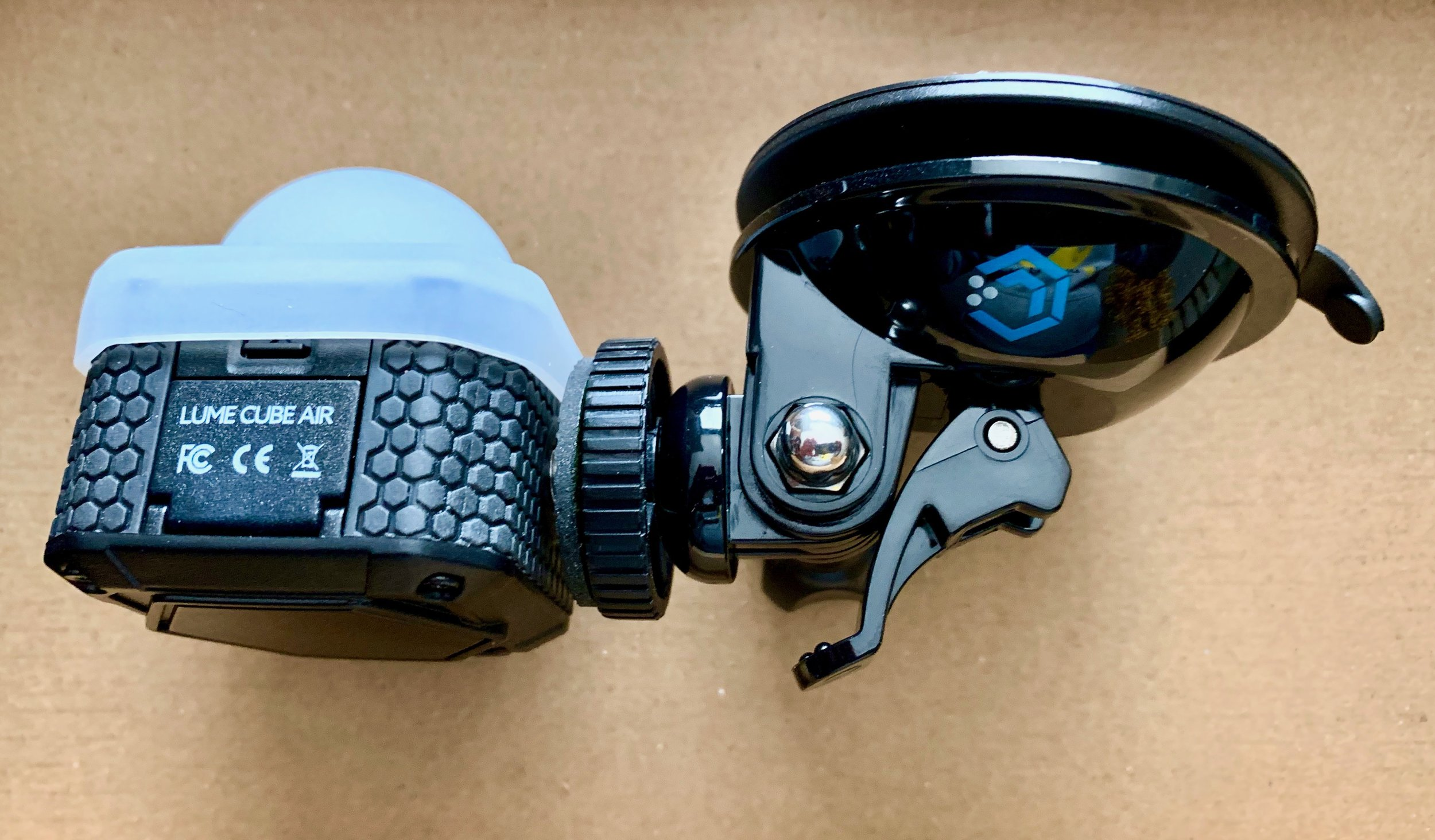 Closeup of the Lume Cube Air and the suction cup mount. Photo ©2019, Steven Sande