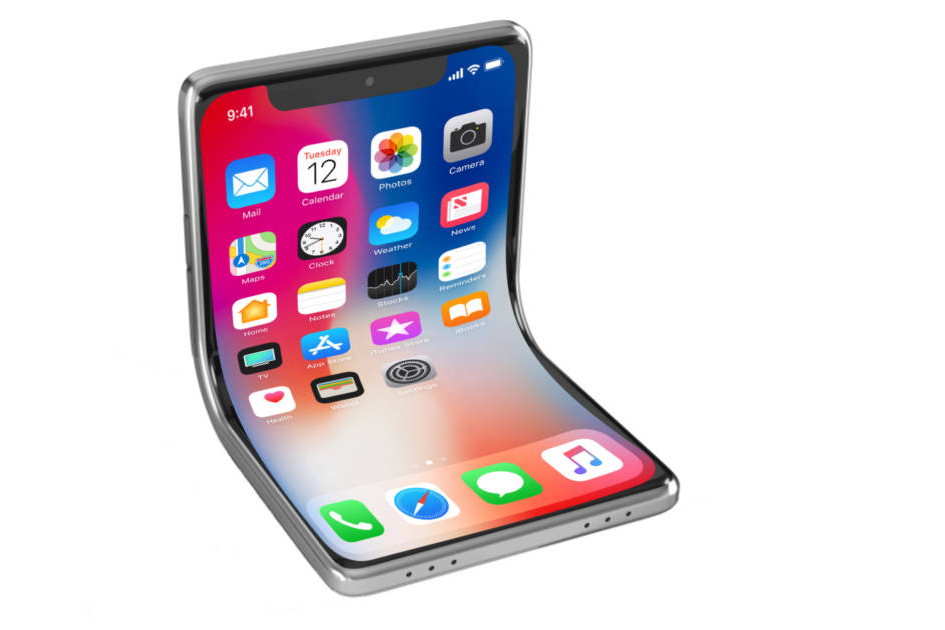 "Foldable iPhone mock-up courtesy of ""The Mac Observer."""