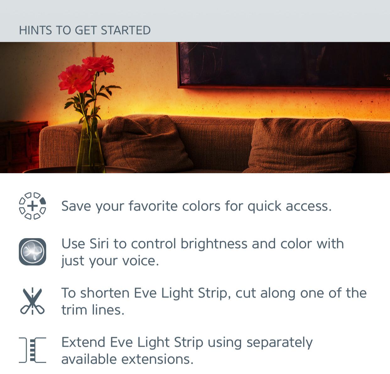 Get Started tips in Eve App